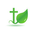 logo cross and sprout vector image vector image