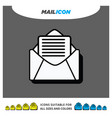 material 3d shadow paper icon mail enveloppe vector image