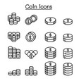 money coin icon set in thin line style vector image vector image