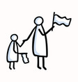 mother and child stick figure people waving flag vector image vector image
