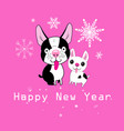 new year card funny dogs vector image vector image