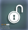 open lock icon On the blue-green abstract vector image vector image