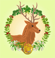reindeer head leaves and french horn vector image vector image
