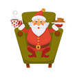 santa drinking tea and cookie daily christmas life vector image vector image