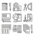 School items flat line icons vector image