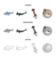 sea and animal sign vector image vector image