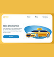 self driving taxi car landing page web template vector image