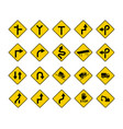 set traffic sign on yellow sign art vector image