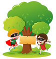 sign template with two kids in hero outfit vector image vector image