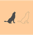 silhouette of the wolf dark grey set icon vector image vector image
