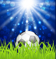 Soccer ball on green grass with shine effect vector image vector image