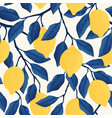 tropical seamless pattern with yellow lemons vector image vector image