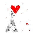 Valentine day Girl with big red heart vector image vector image