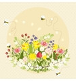 Vintage Spring Flowers Bee Nature Garden vector image vector image