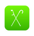 walking cane icon digital green vector image
