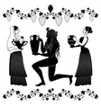 women holding vessel and fruit bowl and man or vector image vector image