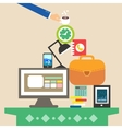 workplace and business objects for hard work vector image vector image
