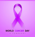 world cancer day symbol 4 february ribbon symbol vector image