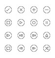 media player icons set line icon vector image