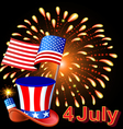 Card Independence Day with fireworks hat vector image