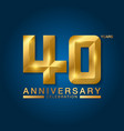 40 years anniversary celebration logotype golden vector image