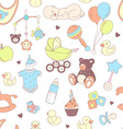 baby shower seamless pattern texture for girl vector image