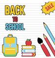 back to school sale school supplies poster vector image vector image
