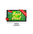 best deal banner computer display offer design vector image vector image