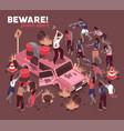 beware of zombies background vector image vector image