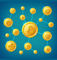 blockchain cryptocurrency and bitcoin vector image vector image