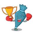 boxing winner pastrybag mascot cartoon style vector image vector image