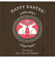 Brown greetings card for Easter Day with rabbits vector image vector image