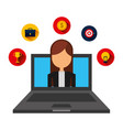businesswoman in laptop computer with set icons vector image vector image