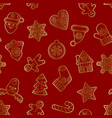 christmas and new year gold outline seamless vector image vector image