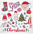 christmas doodle collection new year colorful vector image vector image