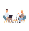 couple discussing during meeting man using laptop vector image
