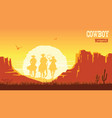 cowboys silhouette riding horses at sunset vector image