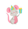 cute mouse in party hat holding gift box funny vector image vector image