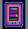 cyber discount on monday neon board with promo vector image