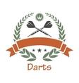 Darts sports heraldic emblem vector image vector image