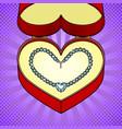 diamond necklace heart in gift box pop art vector image