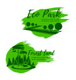 eco park and green forest landscape icon set vector image vector image
