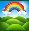 fantastic landscape with rainbow vector image vector image