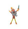 funny warrior king character raising his sword up vector image vector image