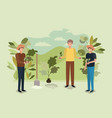 group of men planting tree in the park vector image