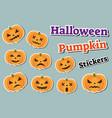 halloween pumpkin set stickers emoji patches vector image vector image