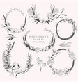 hand drawn wreaths with florals and plants vector image vector image
