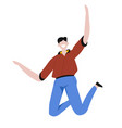 happy young man jumping with joy and excitement vector image