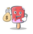 ice cream character cartoon with money bag vector image vector image