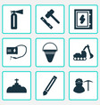 industry icons set with plumbing pencil vector image